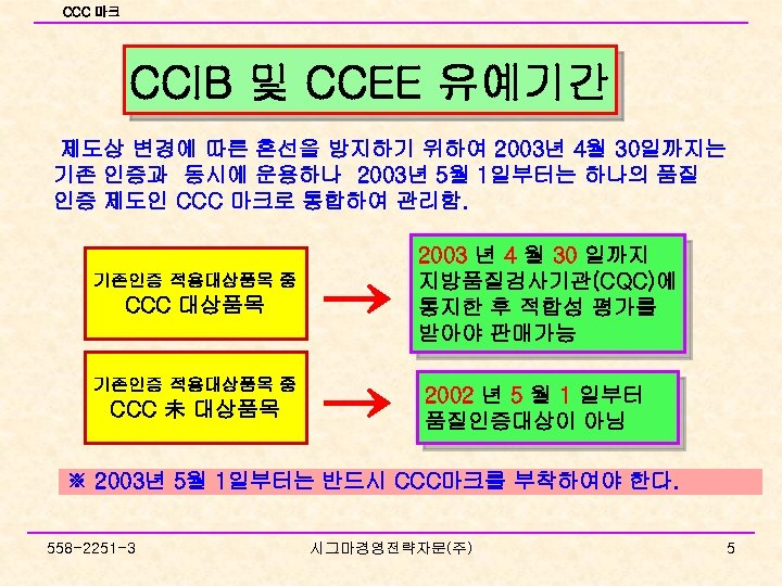 CCC 마크 CCIB 및 CCEE 유예기간 제도상 변경에 따른 혼선을 방지하기 위하여 2003년 4월