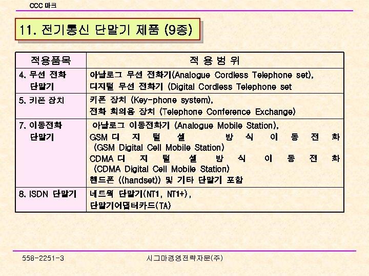 CCC 마크 11. 전기통신 단말기 제품 (9종) 적용품목 적용범위 4. 무선 전화 단말기 아날로그