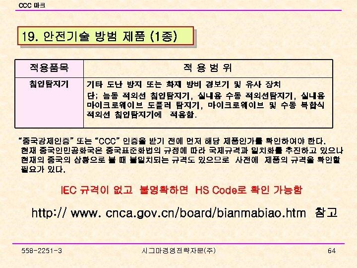 CCC 마크 19. 안전기술 방범 제품 (1종) 적용품목 적용범위 침입탐지기 기타 도난 방지 또는