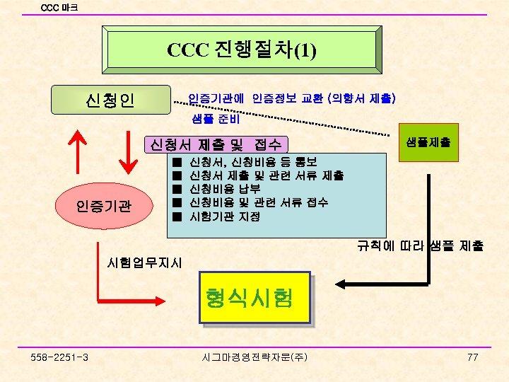 CCC 마크 CCC 진행절차(1) 신청인 인증기관에 인증정보 교환 (의향서 제출) 샘플 준비 ↑↓ 인증기관