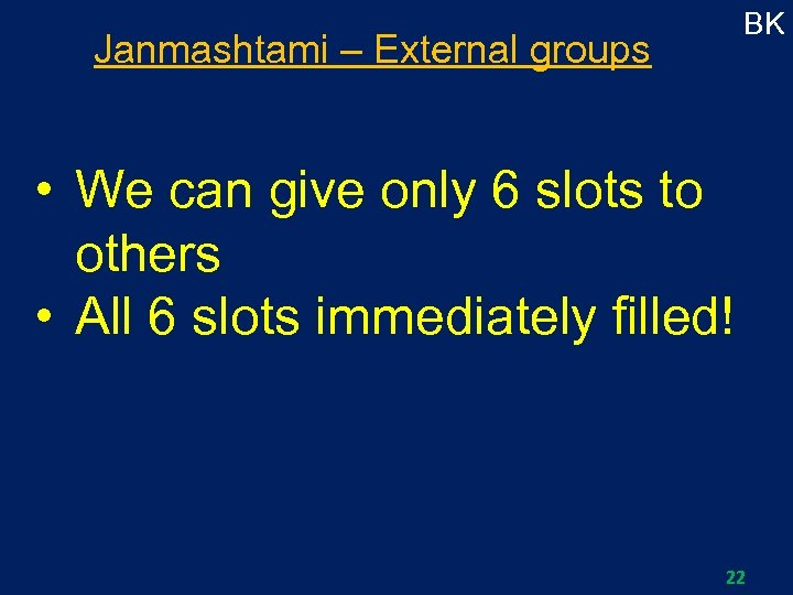 BK Janmashtami – External groups • We can give only 6 slots to others