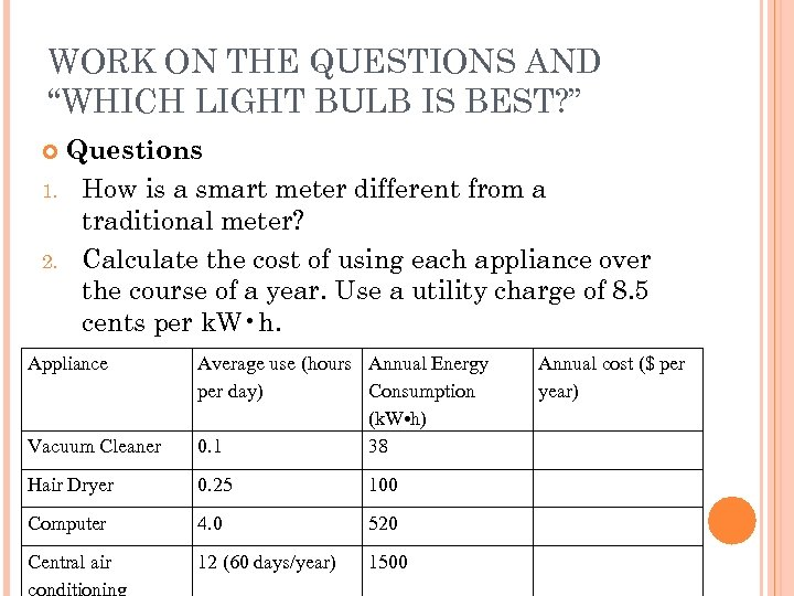 """WORK ON THE QUESTIONS AND """"WHICH LIGHT BULB IS BEST? """" Questions 1. How"""