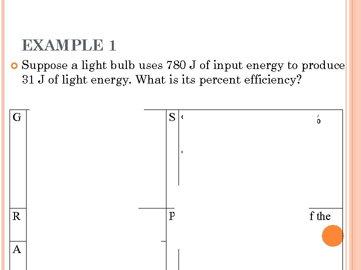 EXAMPLE 1 Suppose a light bulb uses 780 J of input energy to produce