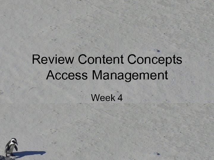 Review Content Concepts Access Management Week 4
