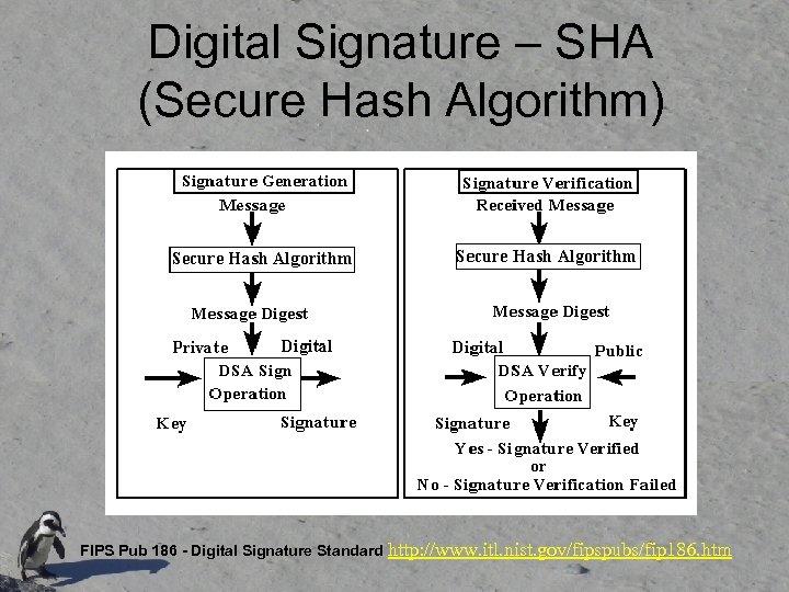 Digital Signature – SHA (Secure Hash Algorithm) FIPS Pub 186 - Digital Signature Standard