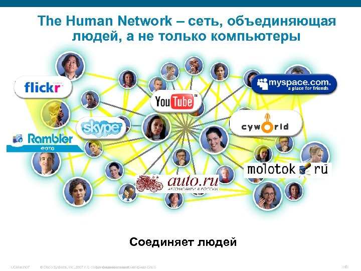 The Human Network – сеть, объединяющая людей, а не только компьютеры Соединяет людей UCMarch