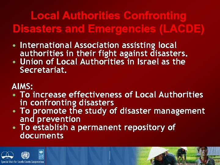 Local Authorities Confronting Disasters and Emergencies (LACDE) • International Association assisting local authorities in