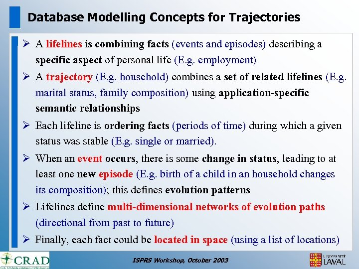Database Modelling Concepts for Trajectories Ø A lifelines is combining facts (events and episodes)