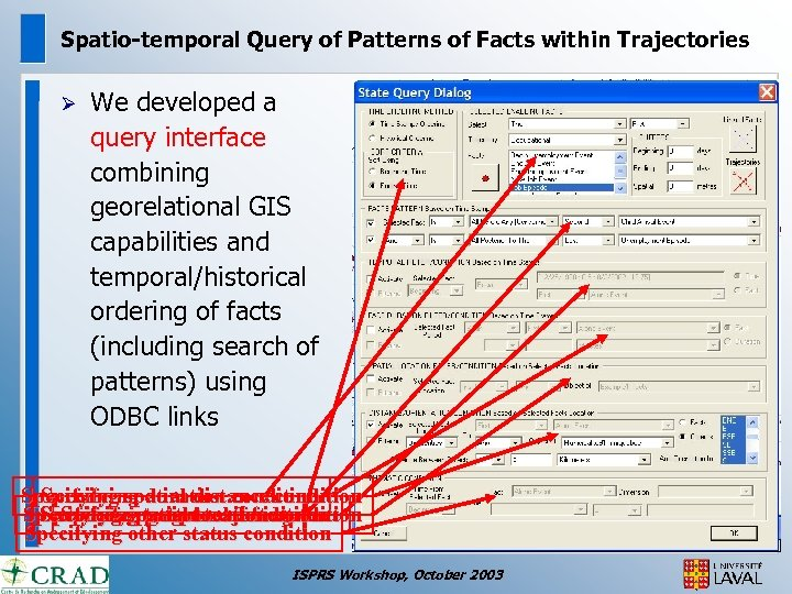Spatio-temporal Query of Patterns of Facts within Trajectories Ø We developed a query interface