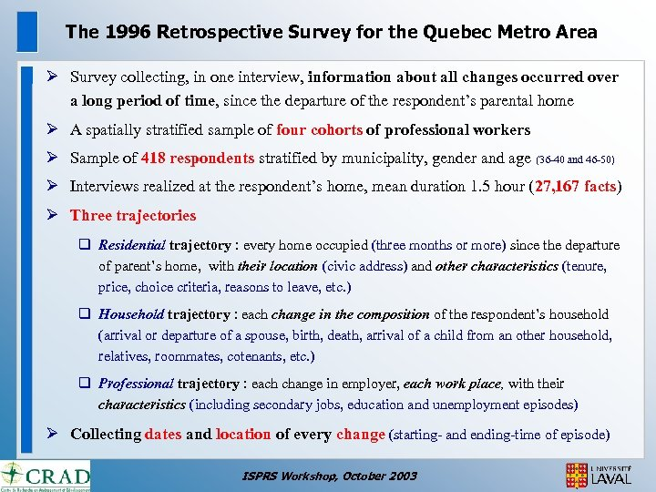 The 1996 Retrospective Survey for the Quebec Metro Area Ø Survey collecting, in one