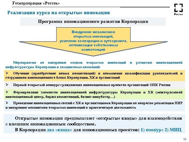 Госкорпорация «Ростех» Реализация курса на открытые инновации Программа инновационного развития Корпорации Внедрение механизмов открытых