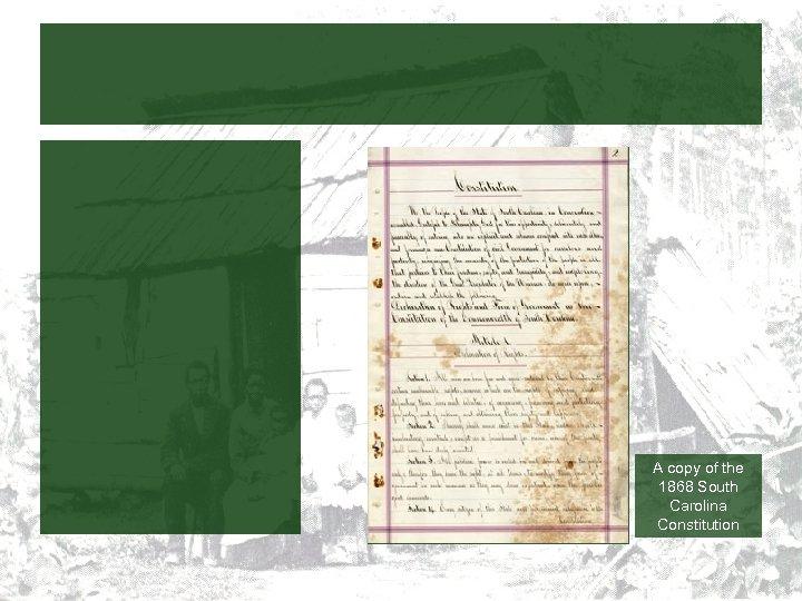 A copy of the 1868 South Carolina Constitution