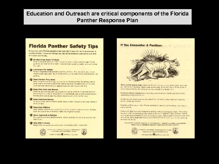 Education and Outreach are critical components of the Florida Panther Response Plan