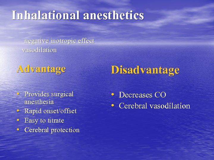 Inhalational anesthetics negative inotropic effect vasodilation Advantage Disadvantage • Provides surgical • Decreases CO