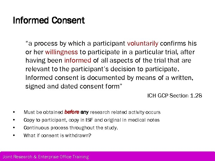 "Informed Consent ""a process by which a participant voluntarily confirms his or her willingness"