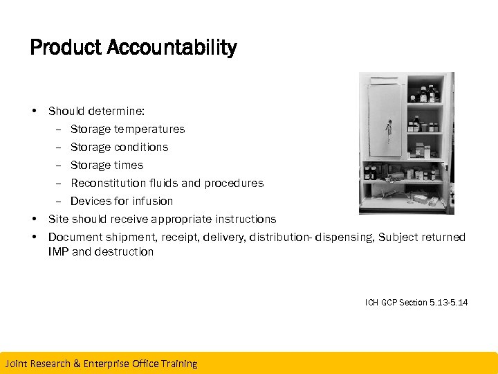 Product Accountability • Should determine: – Storage temperatures – Storage conditions ICH GCP Section