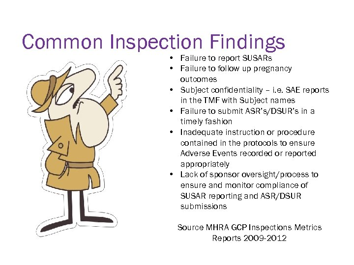 Common Inspection Findings • Failure to report SUSARs • Failure to follow up pregnancy