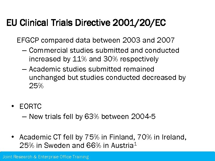 EU Clinical Trials Directive 2001/20/EC EFGCP compared data between 2003 and 2007 – Commercial