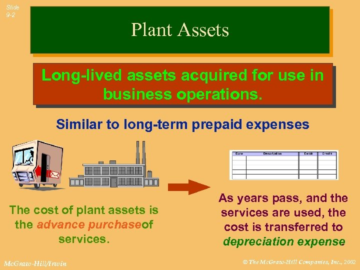 Slide 9 -2 Plant Assets Long-lived assets acquired for use in business operations. Similar