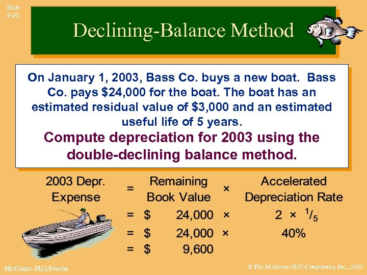 Slide 9 -20 Declining-Balance Method On January 1, 2003, Bass Co. buys a new