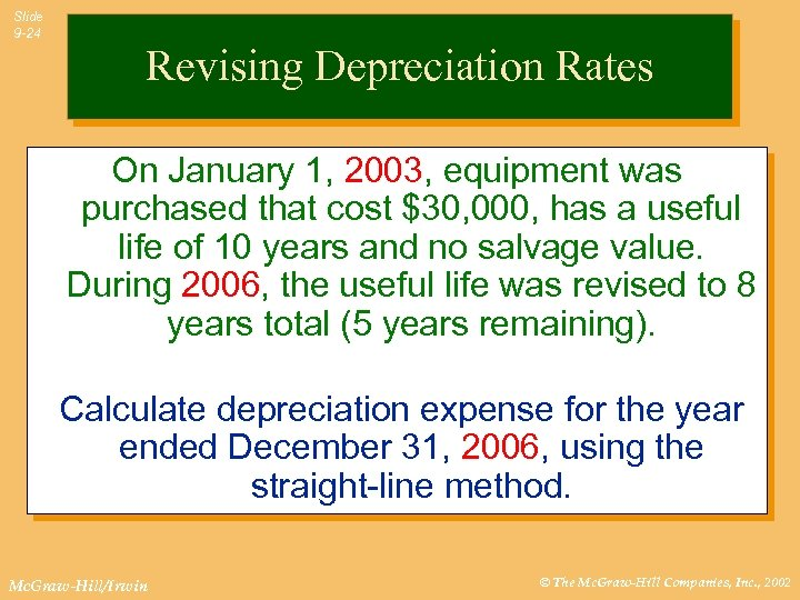 Slide 9 -24 Revising Depreciation Rates On January 1, 2003, equipment was purchased that