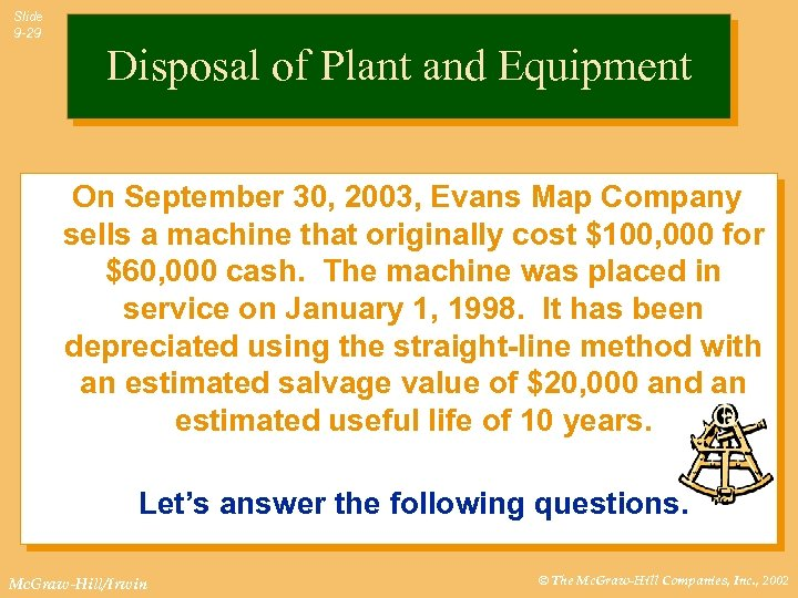Slide 9 -29 Disposal of Plant and Equipment On September 30, 2003, Evans Map