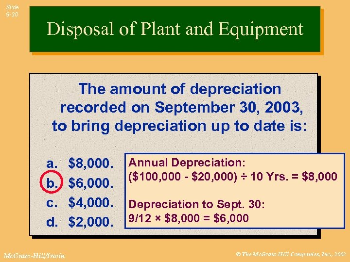 Slide 9 -30 Disposal of Plant and Equipment The amount of depreciation recorded on