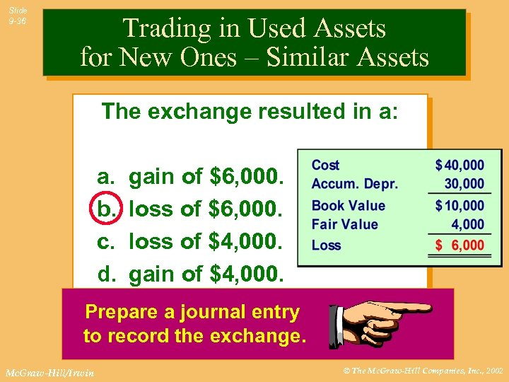 Slide 9 -36 Trading in Used Assets for New Ones – Similar Assets The