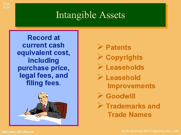 Slide 9 -39 Intangible Assets Record at current cash equivalent cost, including purchase price,