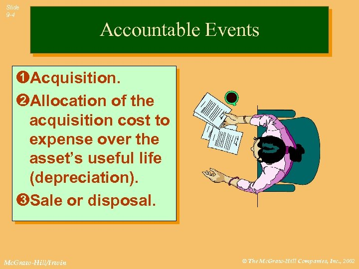 Slide 9 -4 Accountable Events ÊAcquisition. ËAllocation of the acquisition cost to expense over