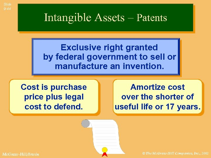 Slide 9 -44 Intangible Assets – Patents Exclusive right granted by federal government to