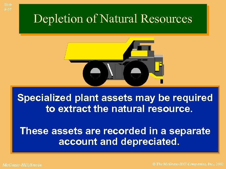 Slide 9 -51 Depletion of Natural Resources Specialized plant assets may be required to