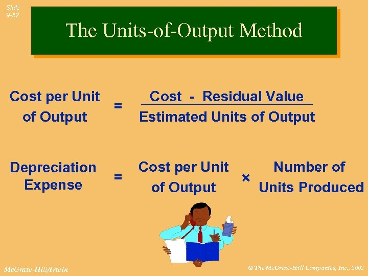Slide 9 -52 The Units-of-Output Method Cost per Unit of Output Depreciation Expense Mc.