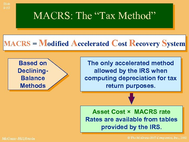 "Slide 9 -53 MACRS: The ""Tax Method"" MACRS = Modified Accelerated Cost Recovery System"