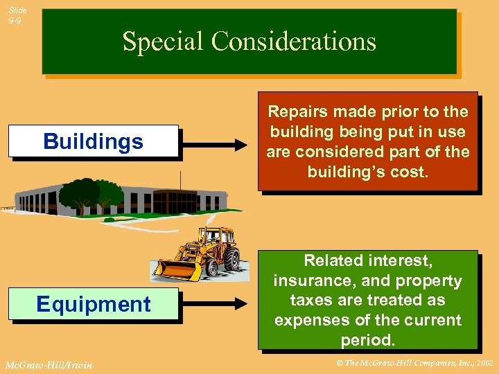 Slide 9 -9 Special Considerations Buildings Repairs made prior to the building being put