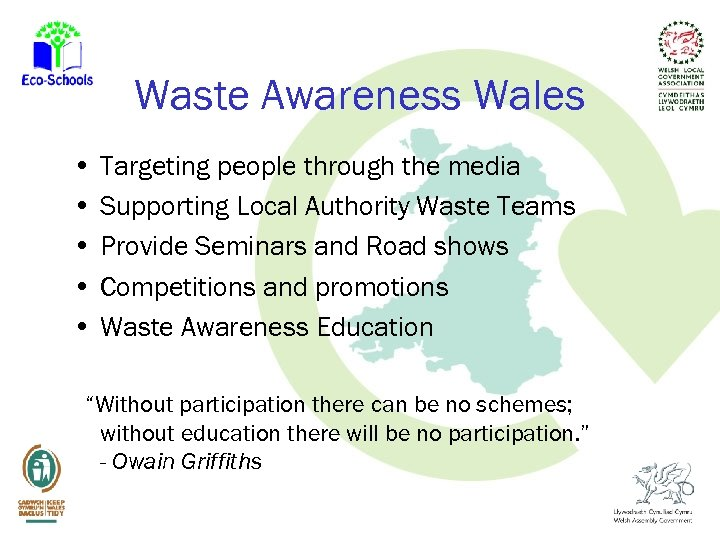 Waste Awareness Wales • Targeting people through the media • Supporting Local Authority Waste