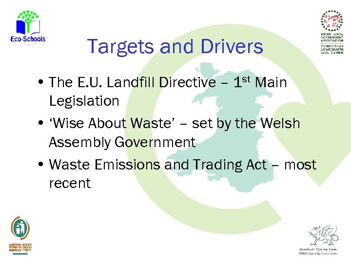 Targets and Drivers • The E. U. Landfill Directive – 1 st Main Legislation