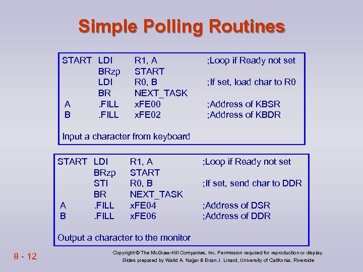 Simple Polling Routines START LDI BRzp LDI BR A. FILL B. FILL R 1,