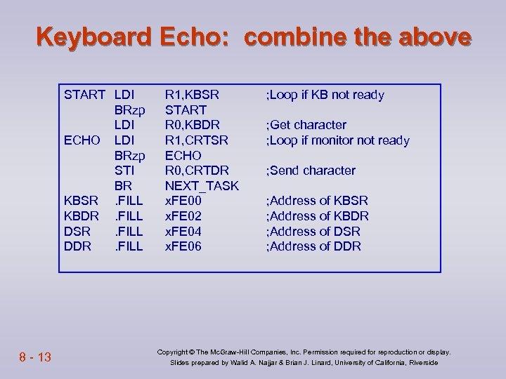 Keyboard Echo: combine the above START LDI BRzp LDI ECHO LDI BRzp STI BR