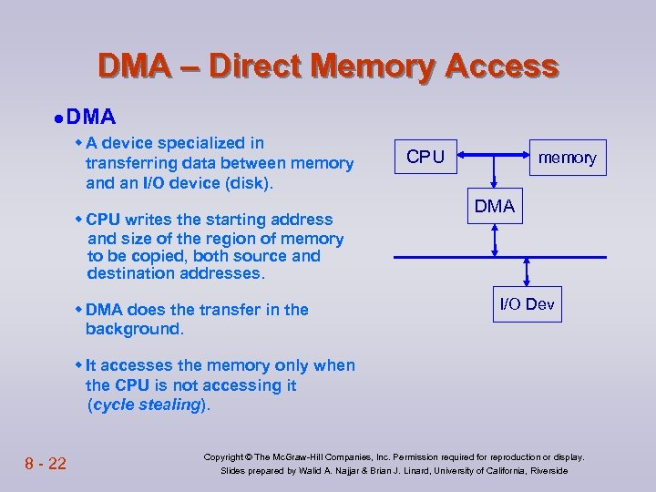 DMA – Direct Memory Access l DMA w A device specialized in transferring data