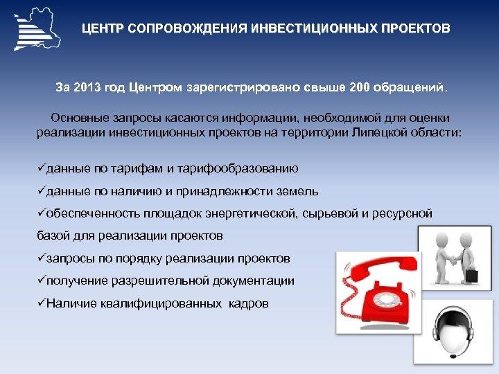 ЦЕНТР СОПРОВОЖДЕНИЯ ИНВЕСТИЦИОННЫХ ПРОЕКТОВ За 2013 год Центром зарегистрировано свыше 200 обращений. Основные запросы