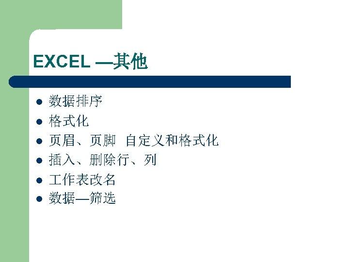 EXCEL —其他 l l l 数据排序 格式化 页眉、页脚 自定义和格式化 插入、删除行、列 作表改名 数据—筛选