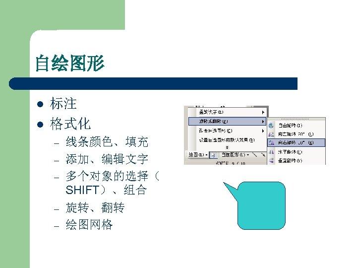 自绘图形 l l 标注 格式化 – – – 线条颜色、填充 添加、编辑文字 多个对象的选择( SHIFT)、组合 旋转、翻转 绘图网格