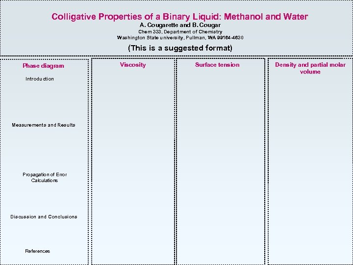 Colligative Properties of a Binary Liquid: Methanol and Water A. Cougarette and B. Cougar