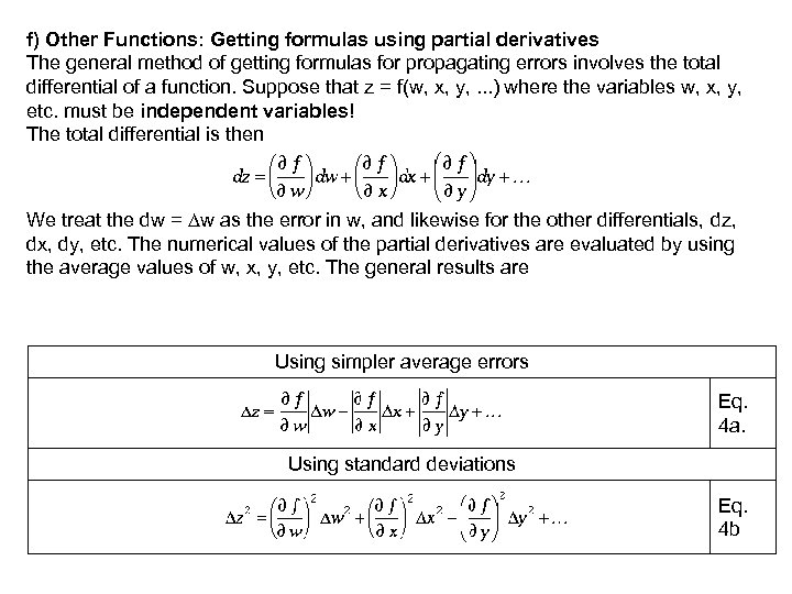f) Other Functions: Getting formulas using partial derivatives The general method of getting formulas