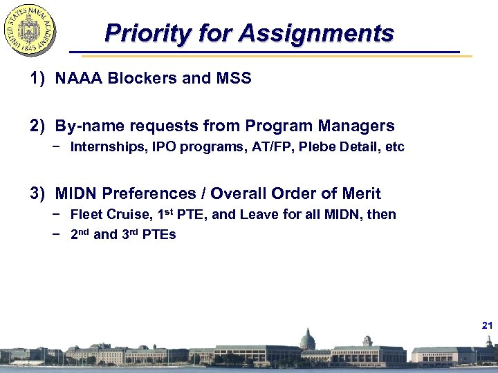Priority for Assignments 1) NAAA Blockers and MSS 2) By-name requests from Program Managers