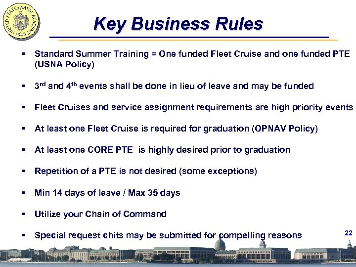 Key Business Rules § Standard Summer Training = One funded Fleet Cruise and one