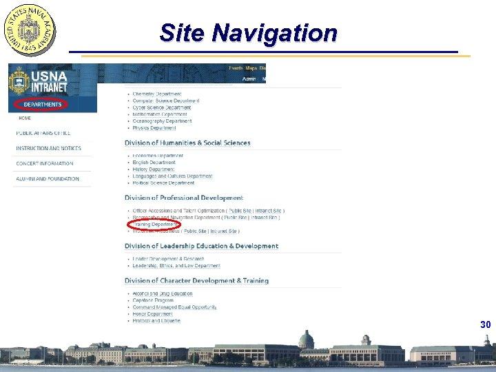 Site Navigation 30