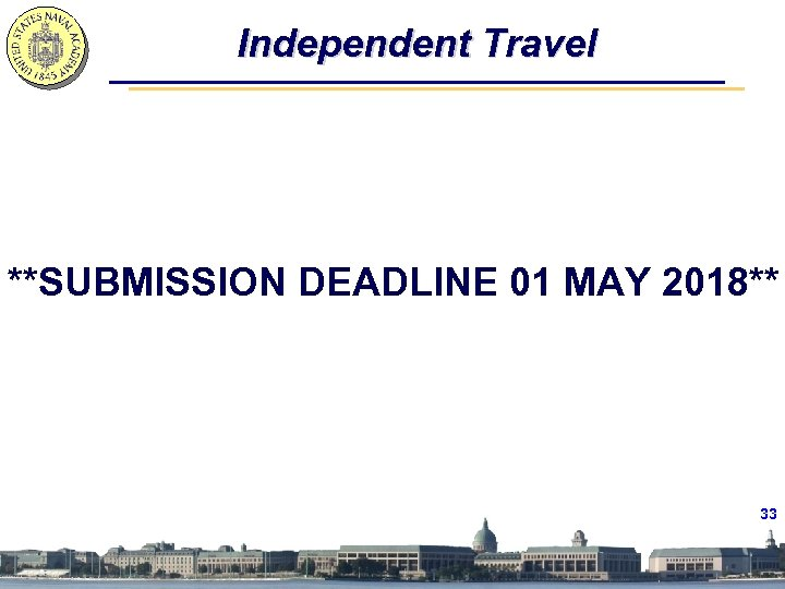 Independent Travel **SUBMISSION DEADLINE 01 MAY 2018** 33