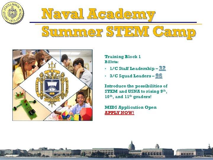 Naval Academy Summer STEM Camp Training Block 1 Billets: • 1/C Staff Leadership –